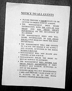 Picture of a Notice to Guests sign posted at a motel. The sign details the rules of the motel as they pertain to guests.